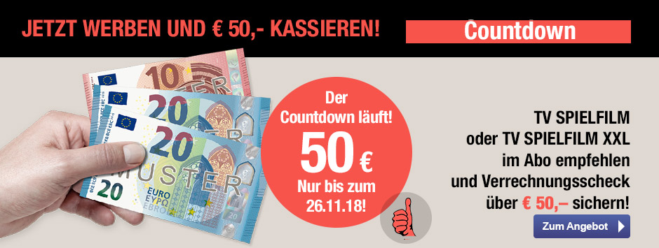 TV SPIELFILM + XXL - 50 EUR Aktion Countdown 10/18