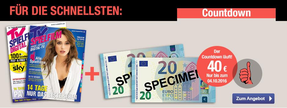 Für die Schnellsten: TV Spielfilm + 40 € Verrechnungsscheck sichern!
