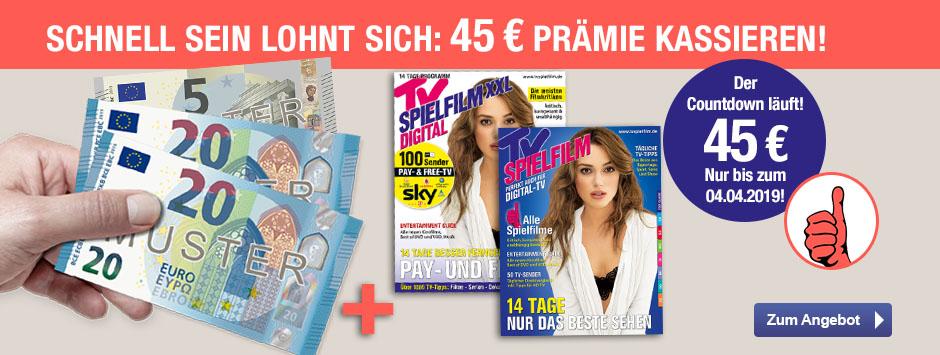 TV SPIELFILM + XXL - Countdown Aktion - 45 € sichern!