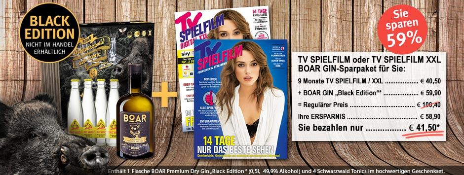 """TV SPIELFILM + XXL - BOAR GIN """"Black-Edition"""" Geschenkpaket"""