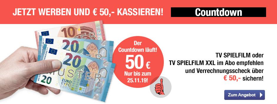 TV SPIELFILM + XXL - 50 EUR Aktion Countdown 11/19