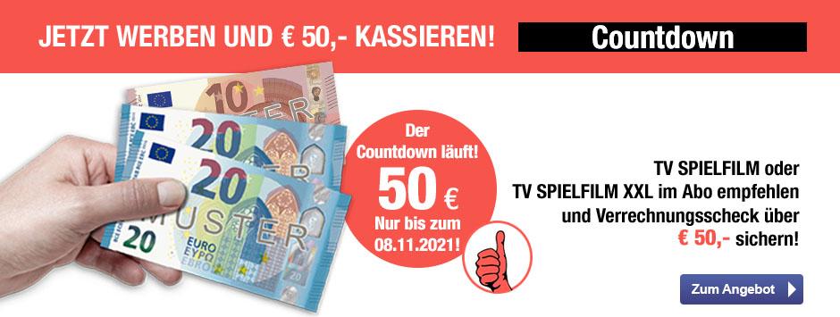 TV SPIELFILM + XXL - 50 EUR Aktion Countdown