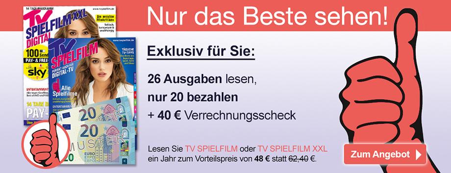 TV SPIELFILM + XXL - Klappkarte Buehne + 40 € Scheck